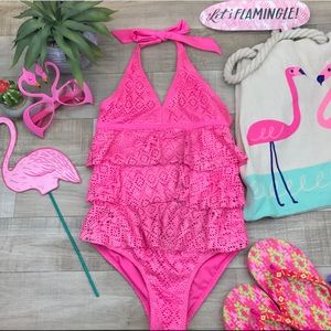 d99b5a7d5ec Girls justice swim suit one piece. $10 $0. Justice pink sparkle ruffle  swimsuit size S 7